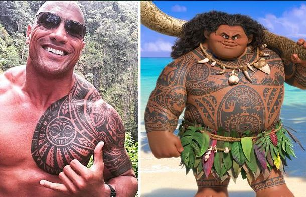 Dwayne Johnson và nhân vật Á thần Maui do anh lồng tiếng.