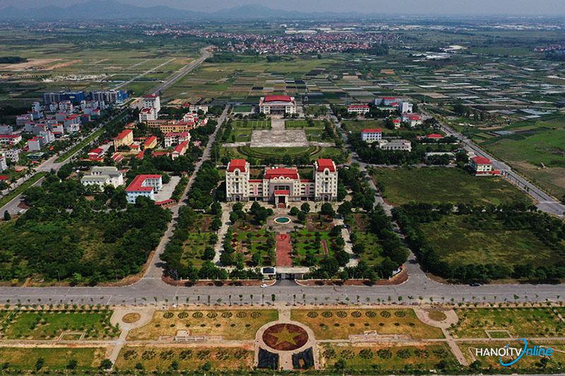 Toàn cảnh huyện Mê Linh nhìn từ trên cao